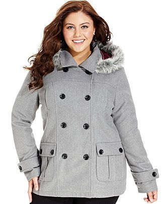 Via Spiga Plus Size Coat, Faux-Leather-Trim Pleated Pea Coat In ...