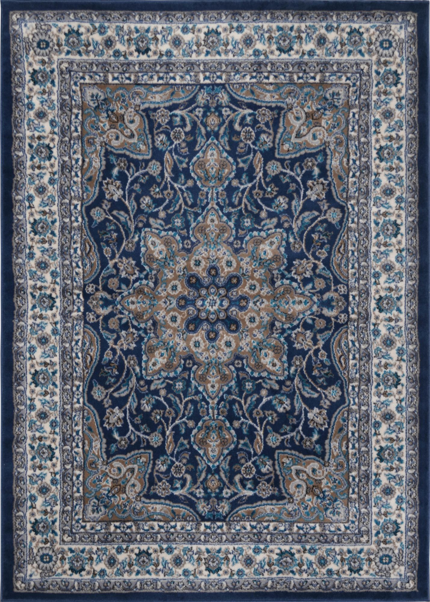 Andover Mills Tremont Fuller Navy Blue Brown Area Rug