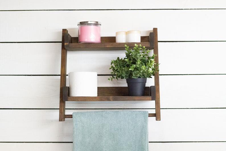Floating Ladder Shelf With Towel Bar In 2020 Ladder Shelf Towel