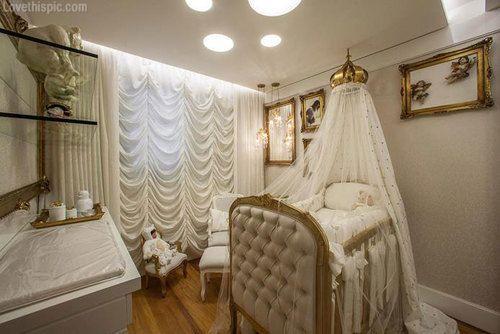 Crib drapery gold elegant cream baby room babys room baby room
