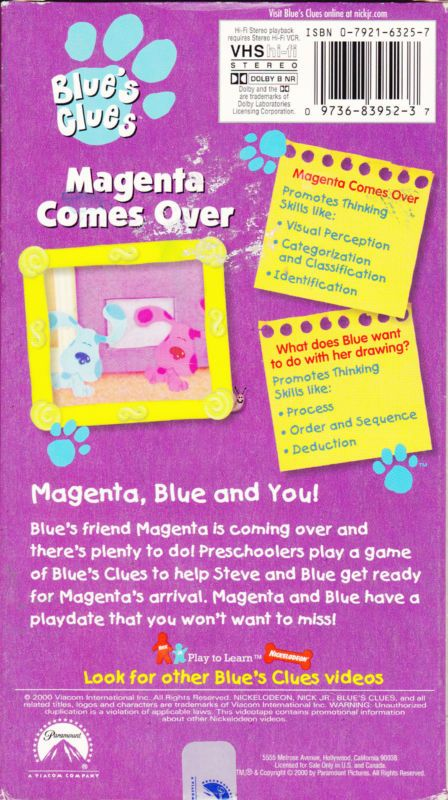 Blue's Glues - Magenta Comes Over (VHS 2000) Tape in ...