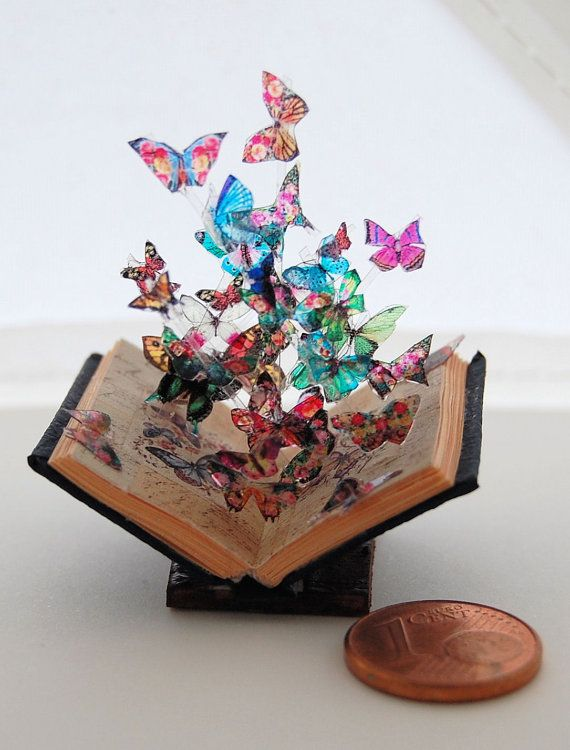Miniature book sculpture butterfly model 7 by JanasMinibooks #bookspapersandthings