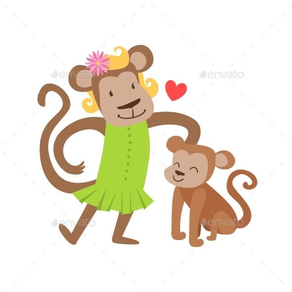 Monkey Mom In Dress Animal Parent And Its Baby by Top_Vectors Monkey Mom In Dress Animal Parent And Its Baby Calf Parenthood Themed Colorful Illustration With Cartoon Fauna Characters. Smiling