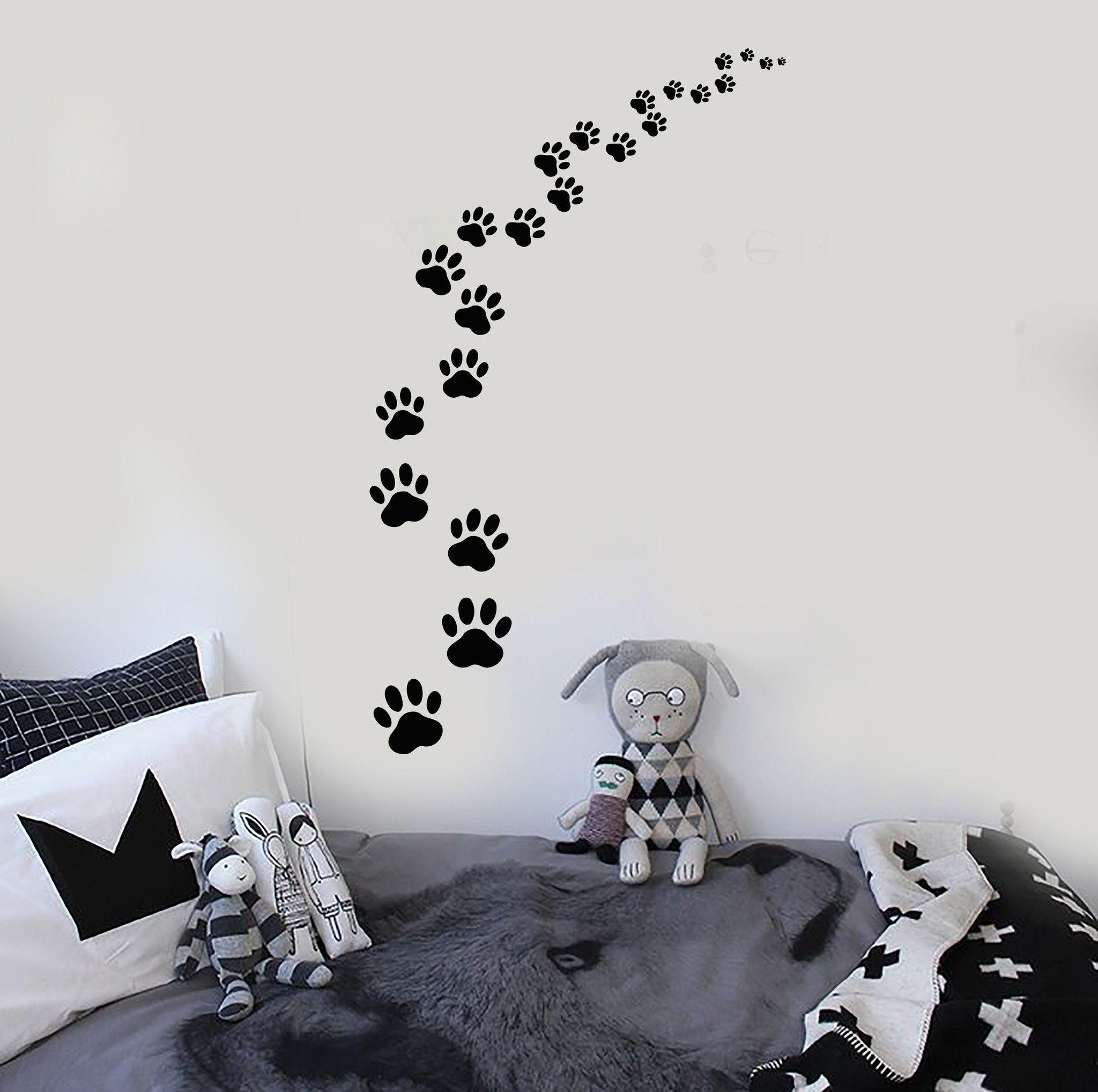 Vinyl Wall Decal Footprints Paws Animal Pet Cat Dog Stickers - Custom vinyl wall decals cats