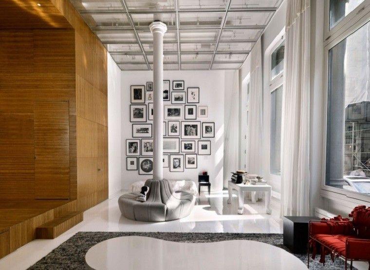 cortinas blancas para el salón moderno