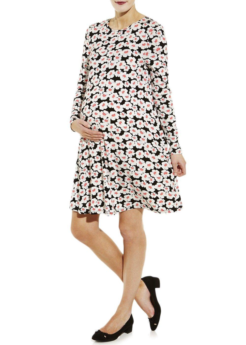 14bffadd77c9f Maternity Long Sleeve Daisy Print Swing Dress - Matalan | Maternity ...