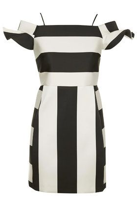 PETITE Satin Stripe Bardot Dress