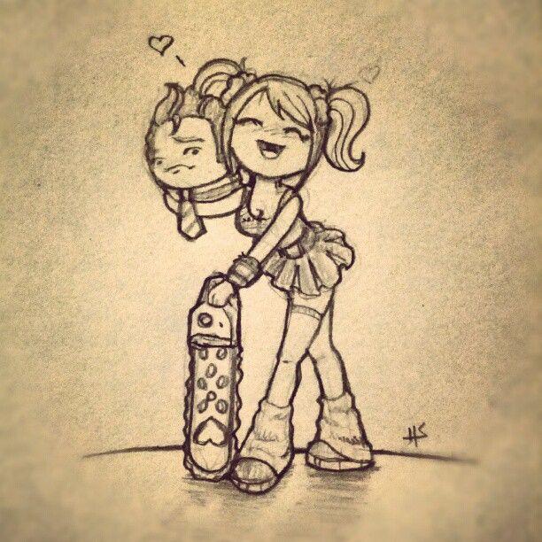 Lollipop Chainsaw. (drawn by my friend, Didj)