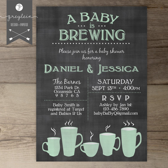 baby is brewing coffee cups baby shower brunch invitation / guy, Baby shower invitations