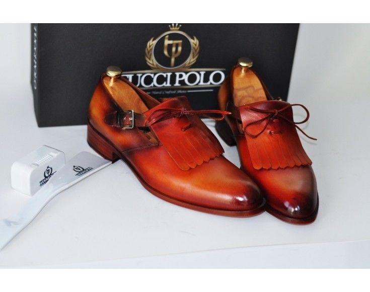 42da1ea89f6 TucciPolo Handcrafted Womens Luxury Style Single Buckle Monkstrap Carmel  Brown Shoe