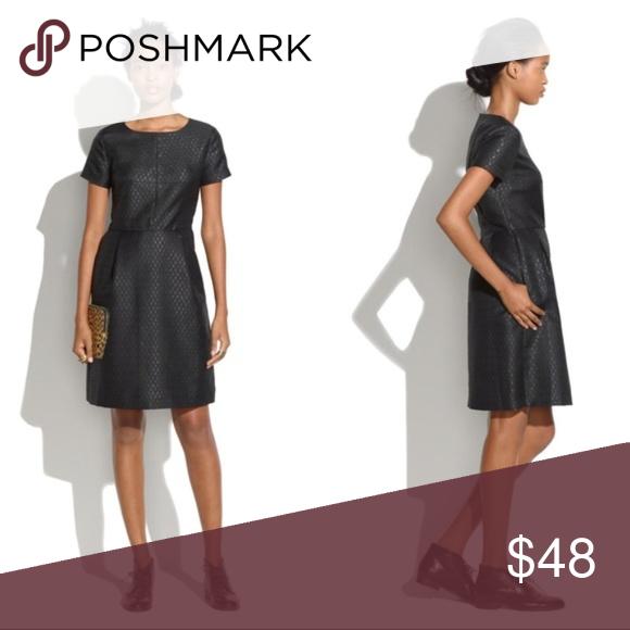 b90760bae6 Madewell Fitted Brocade Black Shimmer Sheath Dress Madewell Fitted Brocade  Sheath Dress with pockets. Black shimmer jacquard fabric.