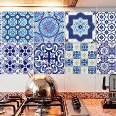 10Pcs Self Adhesive Vintage Ceramic Tiles DIY Kitchen Bathroom Wall ...