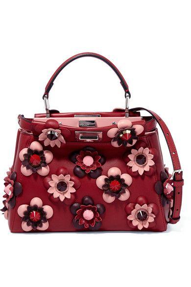Fendi - Peekaboo mini appliquéd leather shoulder bag