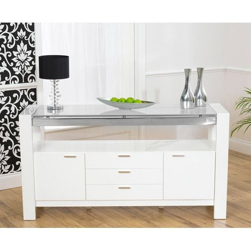 Sophia White High Gloss With a Glass Top Sideboard The Mark Harris
