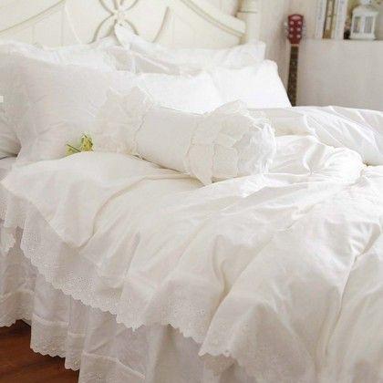 White Eyelet Lace Duvet Cover Set Ruffle Bedding Sets White Bed Set Bedding Sets