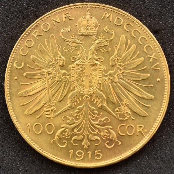 Numismática: Moeda Austríaca, 100 Coroas, Ano 1915, Ouro 22 k, Peso 33,7 g, Diâmetro 37 mm, Flor de