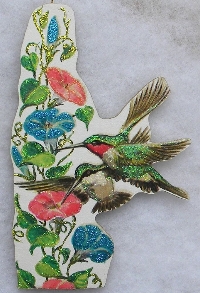 Hummingbirds Morning Glories Vtg Greeting Card Glittered Wood Christmas Ornament