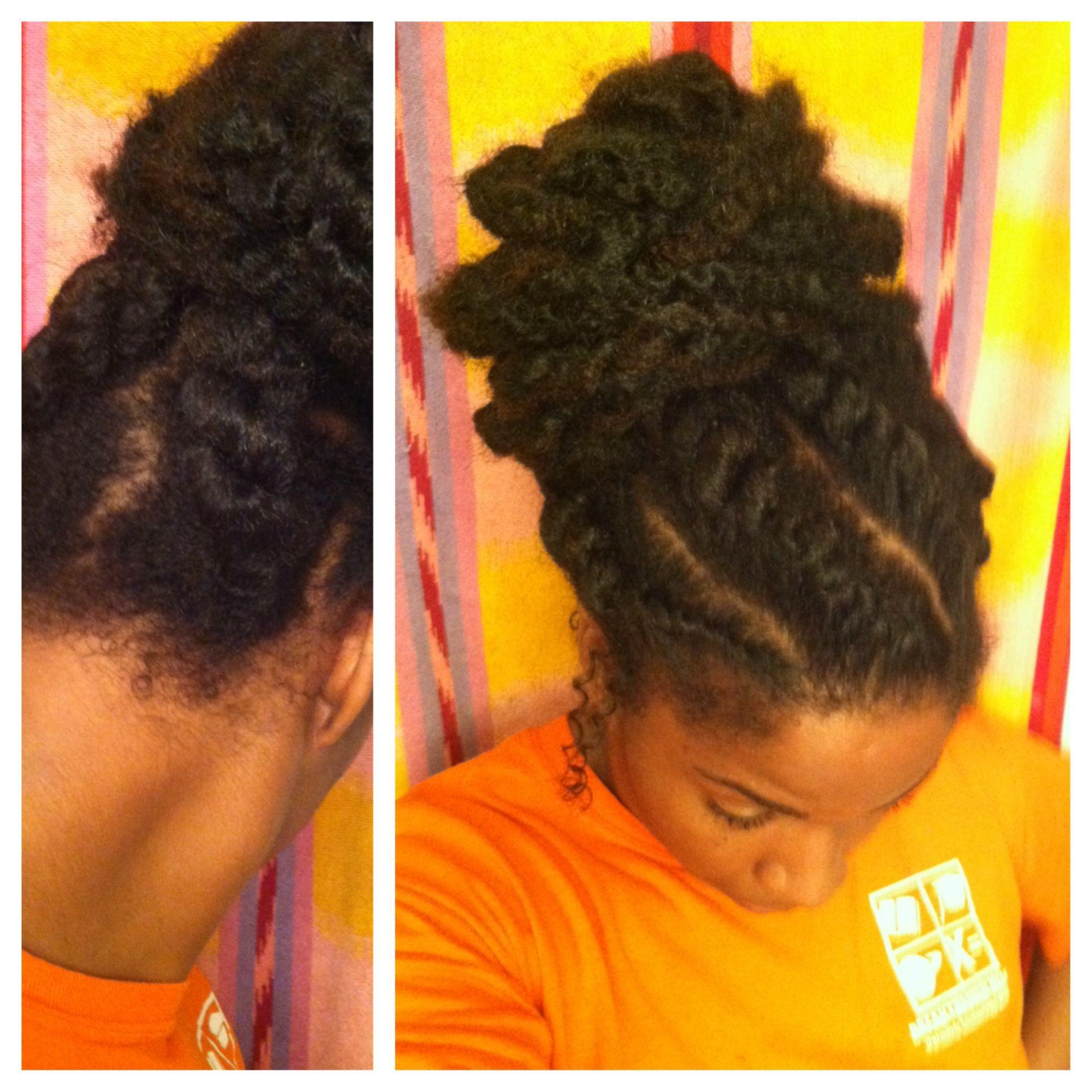 Simple jumbo flat twist hairstyle with marley hair