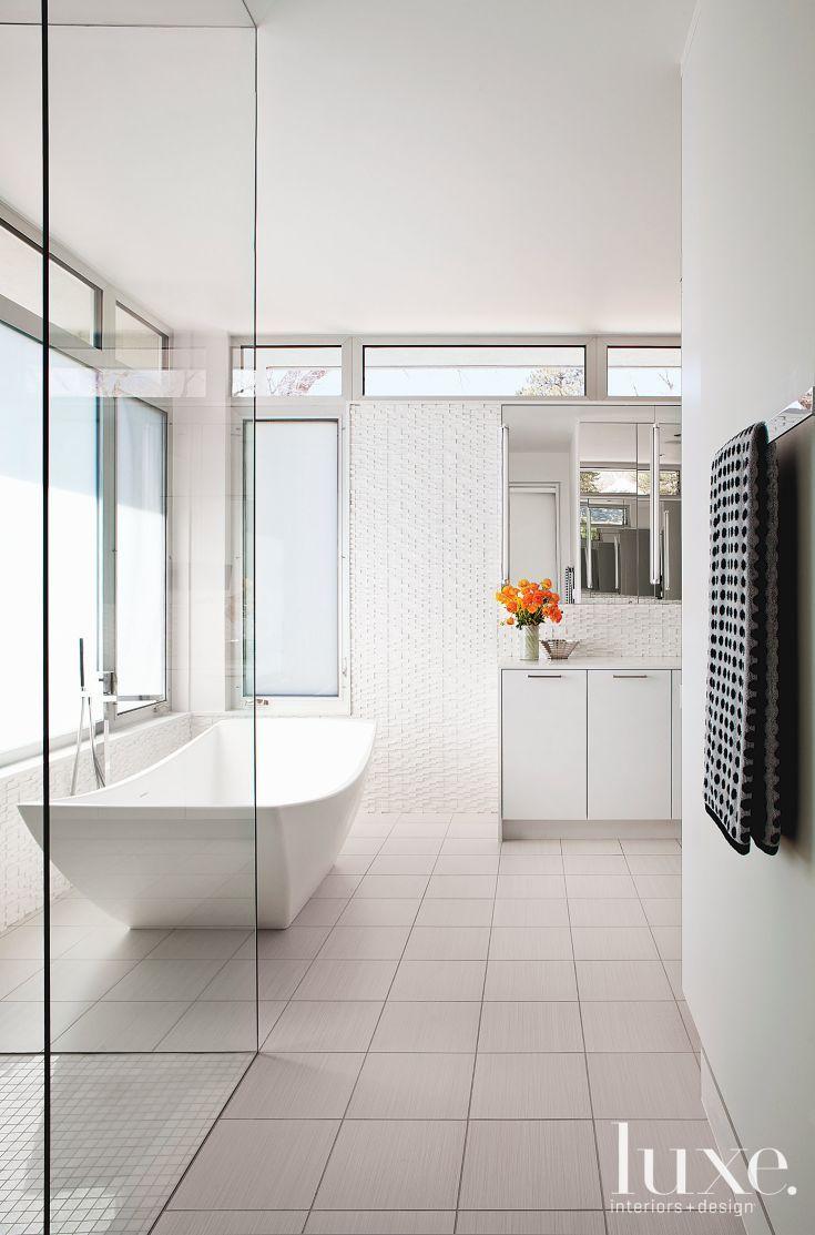 White Modern Master Bath   Luxe   Bath + Powder Rooms   Pinterest ...