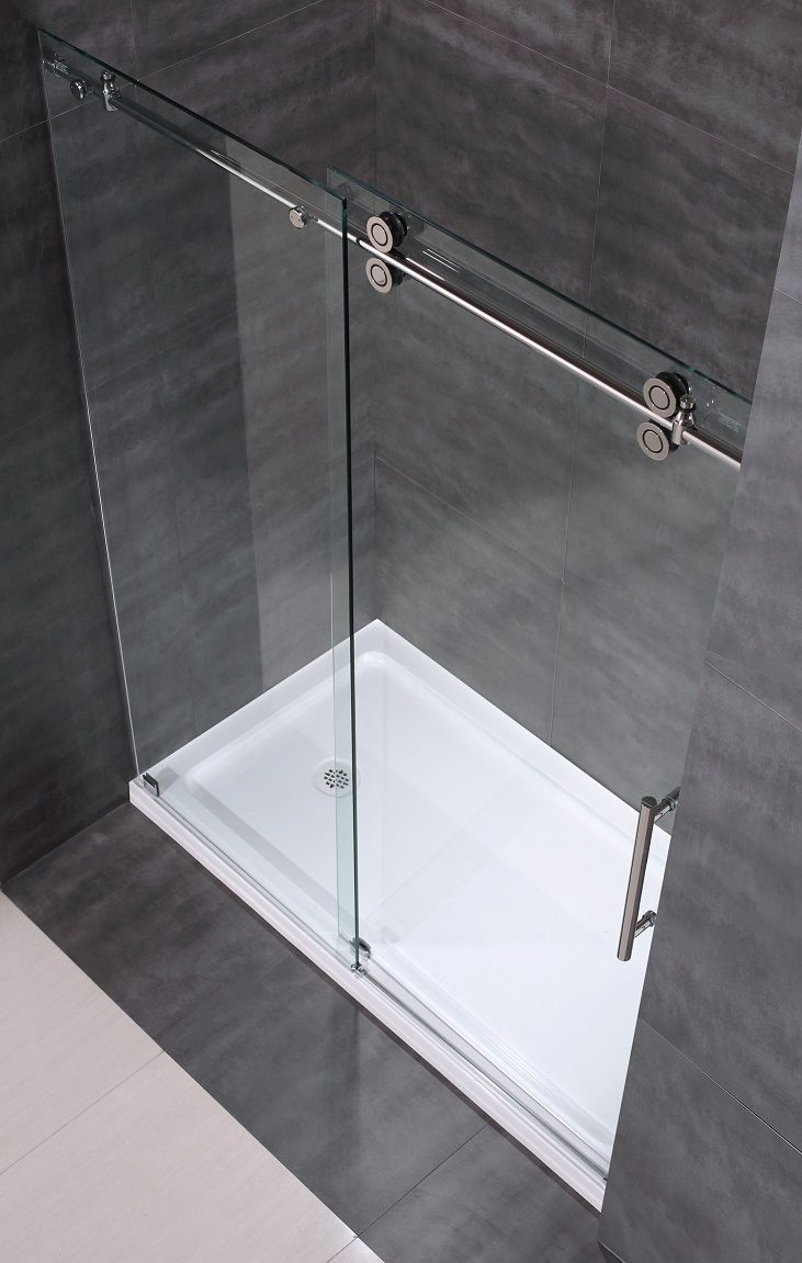 Sdr978 60 Frameless Clear Glass Sliding Shower Door Top View