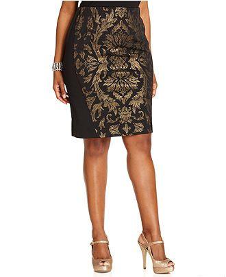 b5bc80032f Alfani Plus Size Skirt, Baroque-Print Pencil - Plus Size Skirts - Plus  Sizes - Macy's