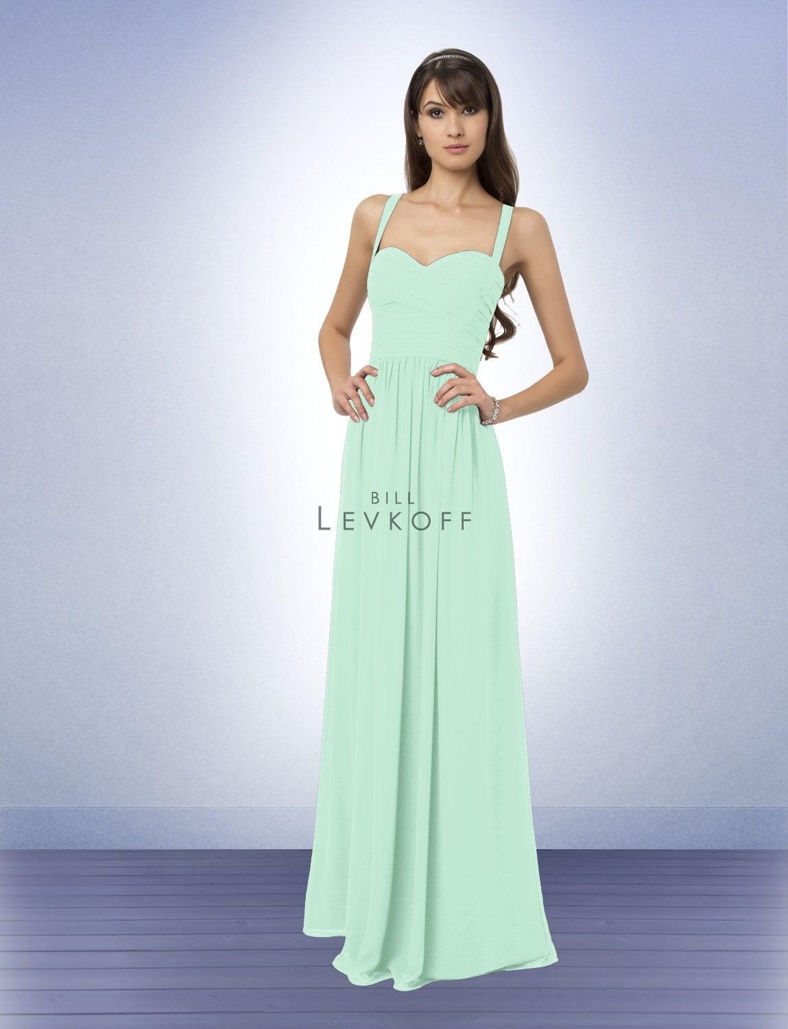 Bridesmaid dress style 769 bridesmaid dresses by bill levkoff chiffon gown with a soft sweetheart neckline ruched criss cross bodice with straps that form a v in the back soft gathers give the skirt fullness and ombrellifo Images