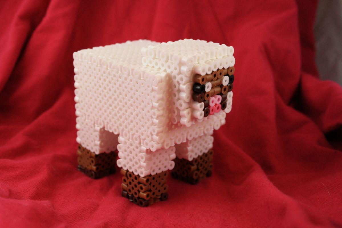 3D Minecraft Sheep Figure perler beads   Ashley Godbold's Blog