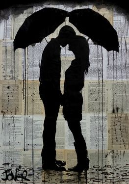 """Something about the rain bringing people closer together (: Loui Jover; Drawing, """"chance of rain"""" #art"""
