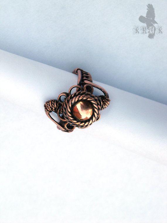 Jahrgang Kupferring Kupferdraht Ring Draht gewickelt Ring ...