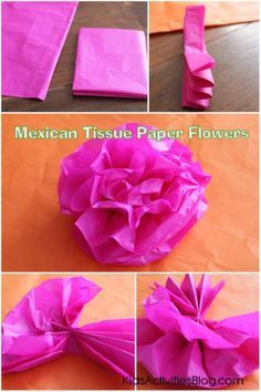 Cinco de mayo mexican paper flowers dollar store diy pinterest make a paper flower for cinco de mayo tissue paper craft mightylinksfo