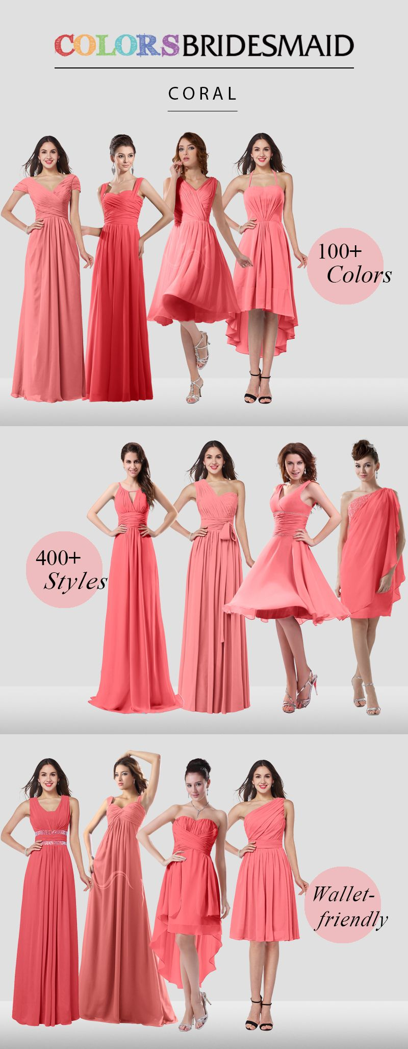 Coral bridesmaid dresses are all custom made to flatter your figure ...