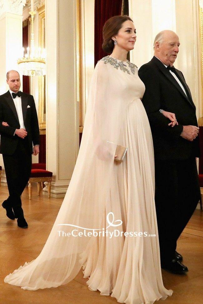 Kate Middleton Perlen Prinzessin Kleid Abendessen am Royal
