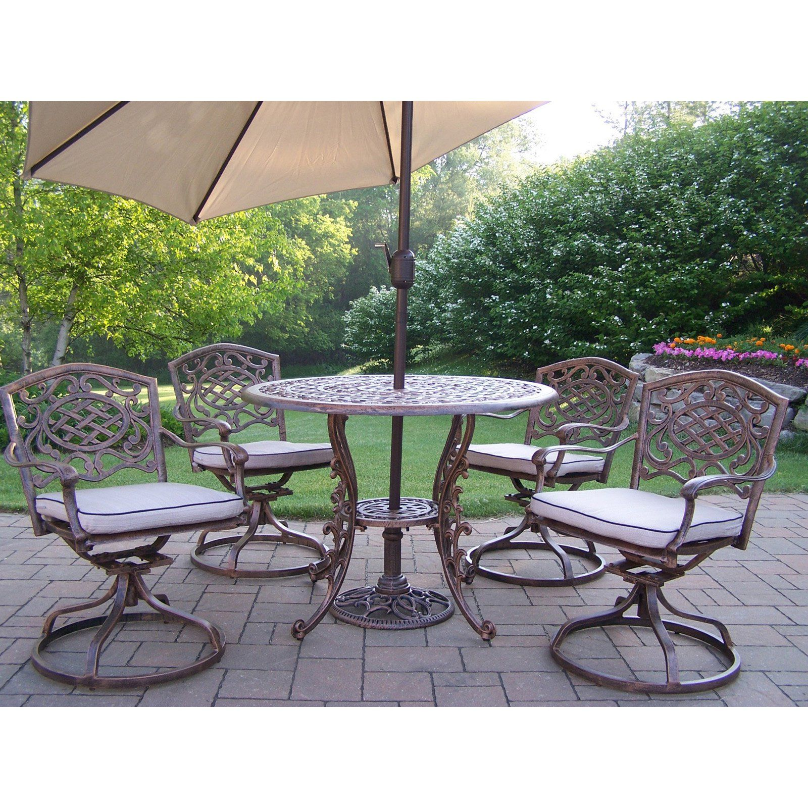 Outdoor Oakland Living Mississippi Patio Dining Set Seats 4 In