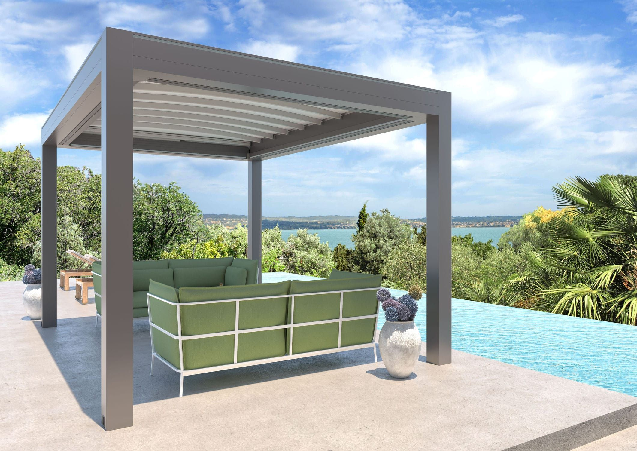 Selbsttragende Pergola Angebaut Aluminium Stoff Faltdach Isola 3 Ke Outdoor Design Pergola Design Outdoor Dekorationen Terassenideen