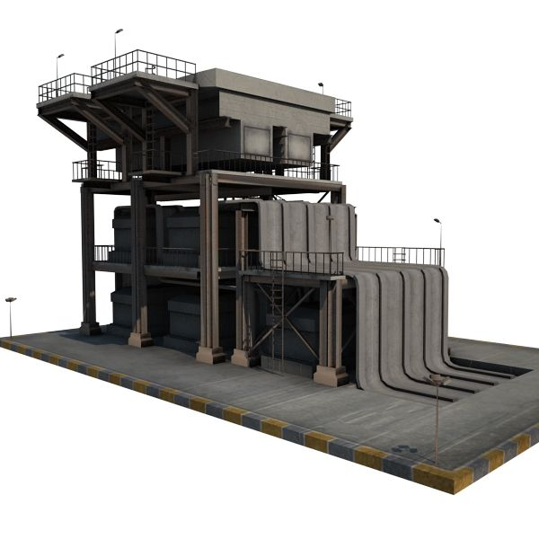 Oil Refinery 08 - game-ready 3d model by gamedev cgduck pro