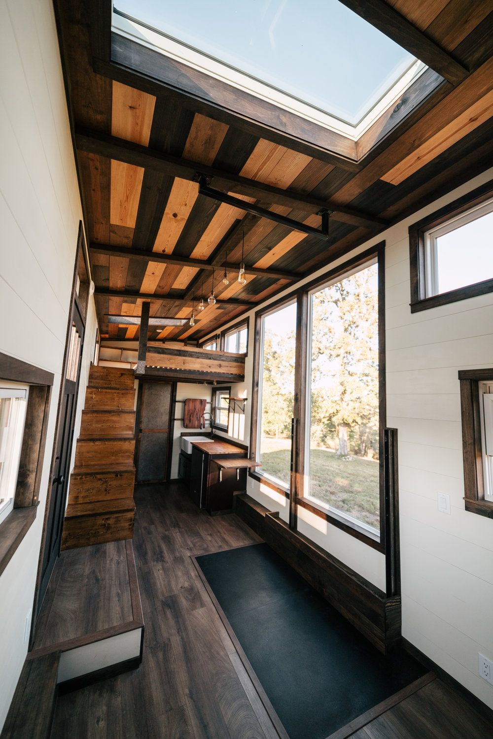 The Silhouette 26ft Tiny House On Wheels With Large Windows And A Built In Gym Tiny House On Wheels Tiny House House On Wheels