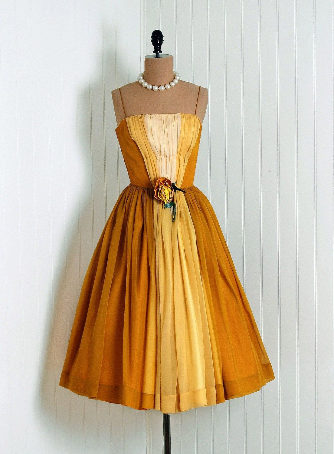 Burnt Orange Ochre And Yellow Dress From The 1950s