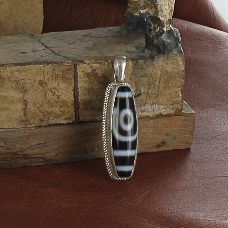 TIBETAN DZI Bead Pendant Sterling Silver Necklace