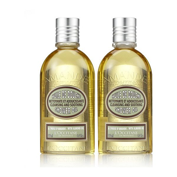 L'Occitane Shower Oil Duo ($43) ❤ liked on Polyvore featuring beauty products, bath & body products and body cleansers