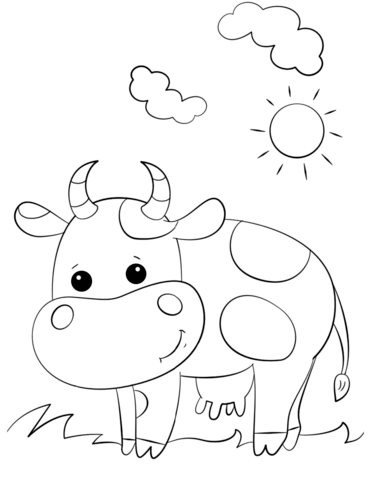 Cute Cartoon Cow coloring page from Cows category. Select