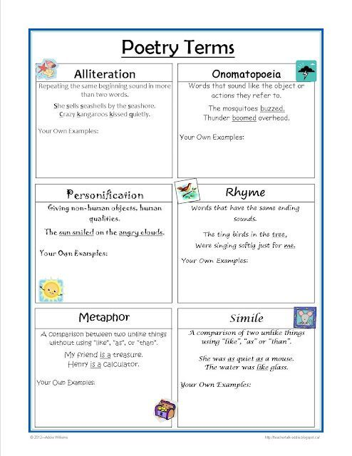 FREE - Poetry Terms worksheet - great for the writing notebook - poetrys analysis template
