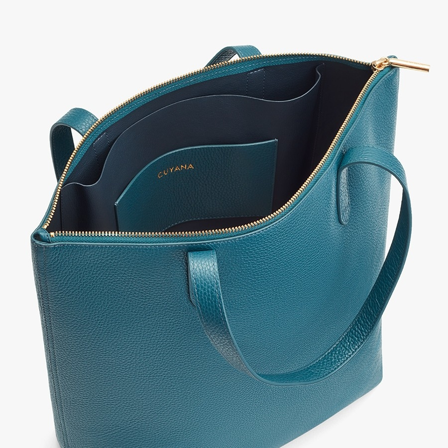 Tall Structured Leather Zipper Tote in 2020 Zippered