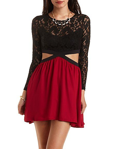 2396d9b12c2 Lace Skater Dress with Cut-Outs  Charlotte Russe