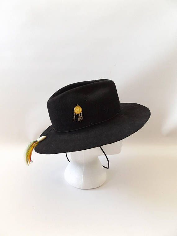fbe5e93314c7a Feathered harley davidson fedora hat - vintage 80s black wool ...