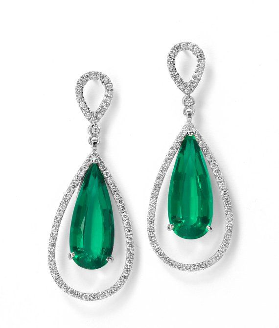 4cfdda4a6e9e2 Emerald Drops, hand made 14K gold diamond earrings. Perfect designer ...
