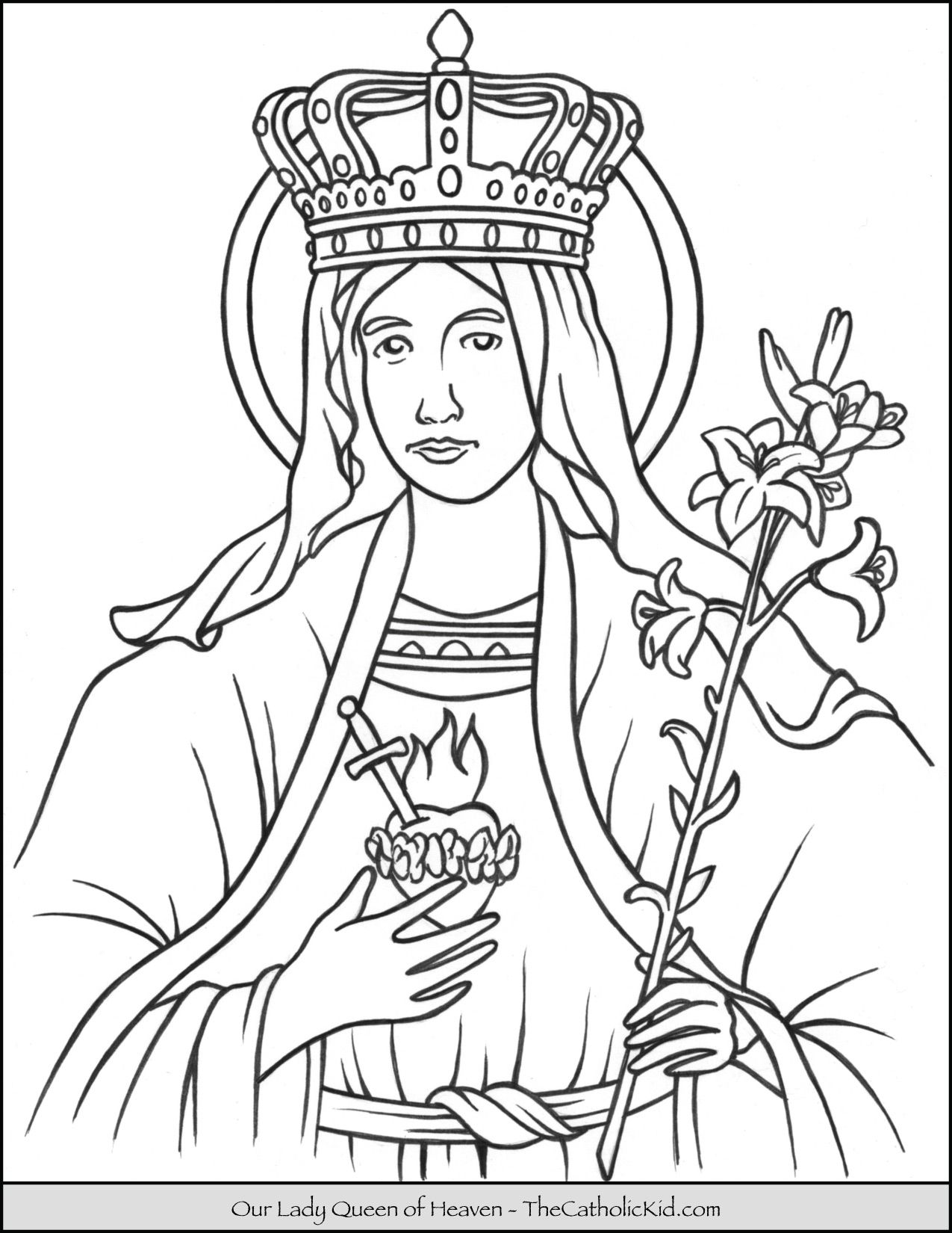 Our Lady Queen Of Heaven Coloring Page Thecatholickid Com