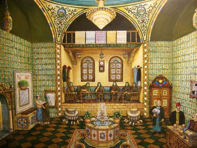 لوحة من التراث الدمشقي الحمامات الدمشقية Heritage Of Damascus Damascus Public Baths For Men Arabian Art Public Bath Bath Art