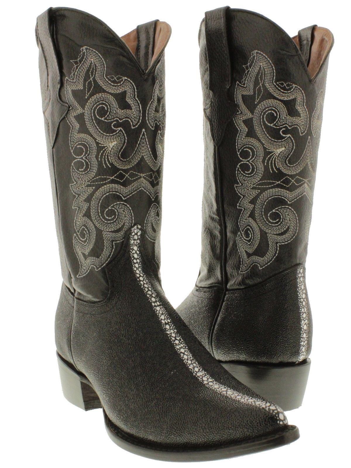 071dec7fd Men s Classic Black Exotic Stingray Row Stone Leather Cowboy Boots J ...
