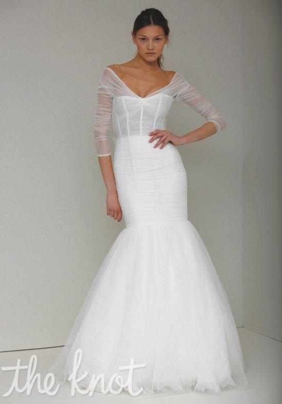 V neck lace mermaid wedding dress with corset bodice i for Monique lhuillier wedding dresses