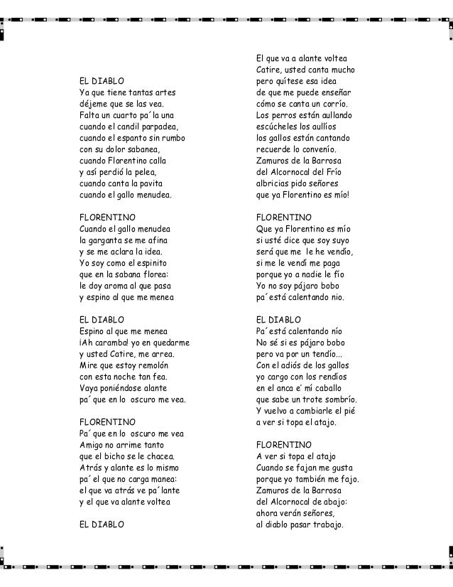 Poema Florentino Y El Diablo Buscar Con Google Poemas Cantando Diablo